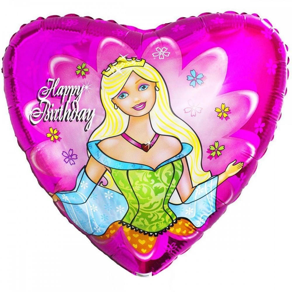 1202-0391 Шар фольгированный с гелием  Сердце HB Принцесса 18, размер 45 на 45 см