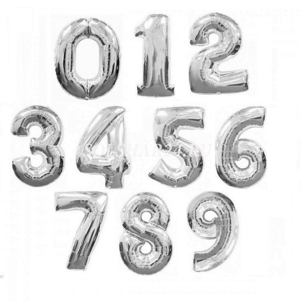 """1207-0002 Фольгована кулька з гелієм  Цифри Срібло (від 0 до 9 на вибір) 40"""", розмір 102 см"""