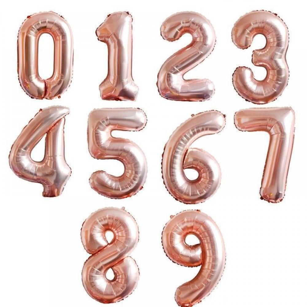 """1207-0003 Фольгированный шар с гелием  Цифры Розовое Золото (от 0 до 9 на выбор) 40"""", размер 102 см"""