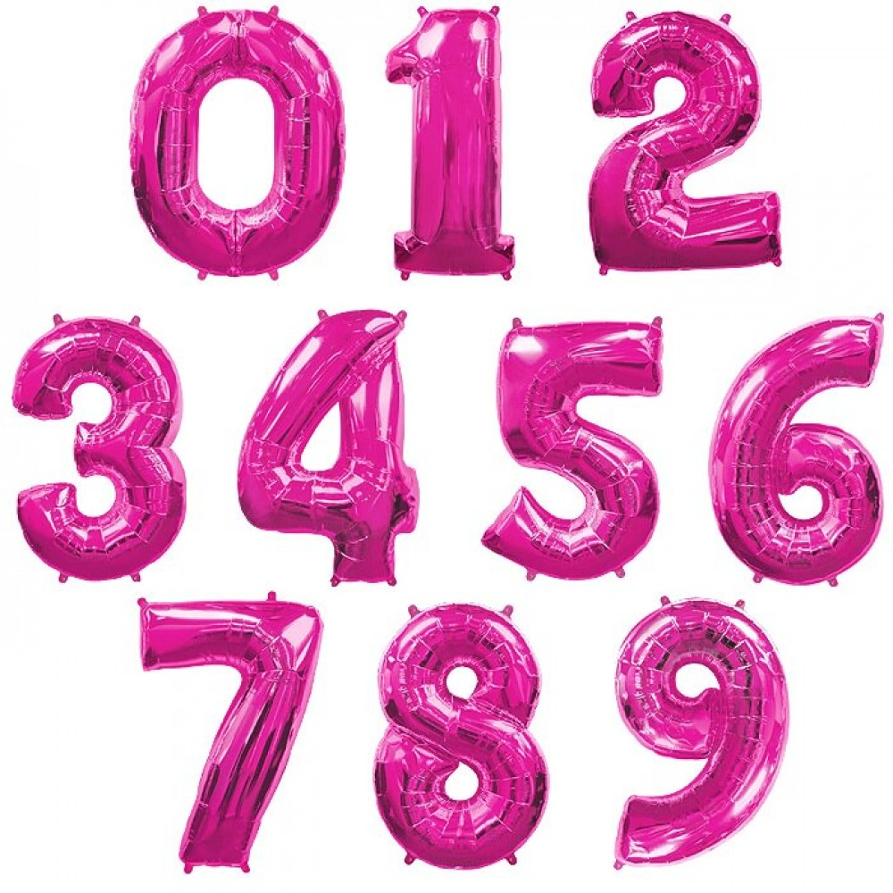 """1207-0004 Фольгована кулька з гелієм  Цифри Малинові (від 0 до 9 на вибір) 40"""", розмір 102 см"""
