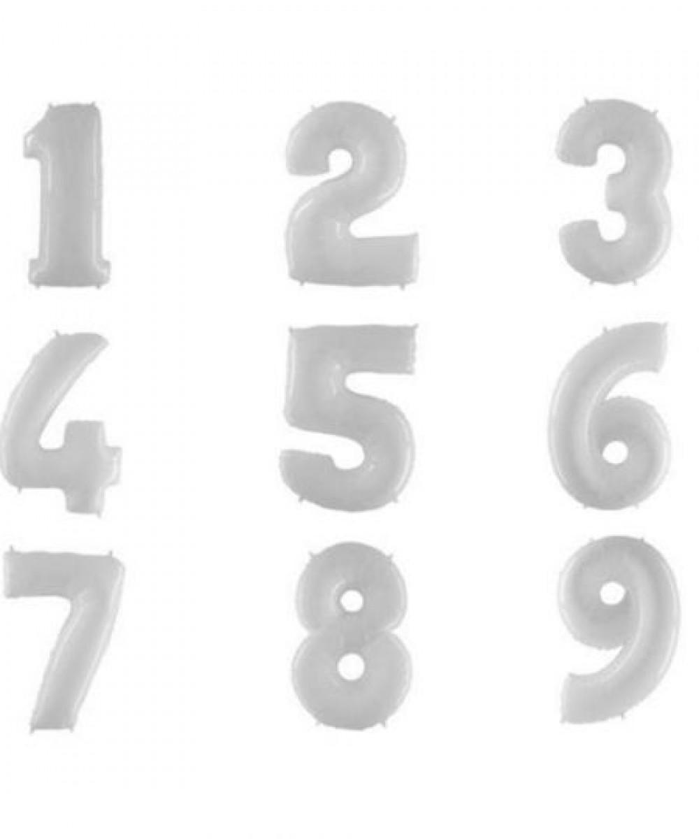 """1207-0006 Фольгована кулька з гелієм  Цифри Білі (від 0 до 9 на вибір) 40"""", розмір 102 см"""