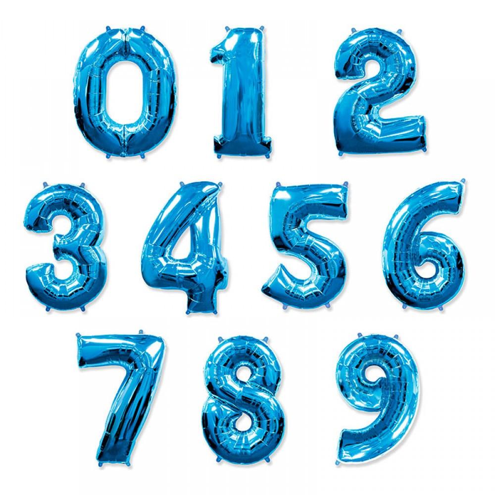 """1207-0007 Фольгована кулька з гелієм  Цифри Сині (від 0 до 9 на вибір) 40"""", розмір 102 см"""