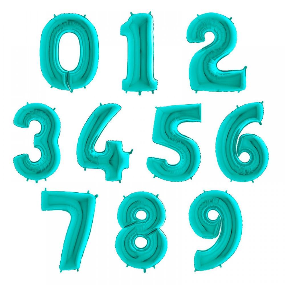 """1207-0008 Фольгована кулька з гелієм  Цифри Аквамарин (від 0 до 9 на вибір) 40"""", розмір 102 см"""