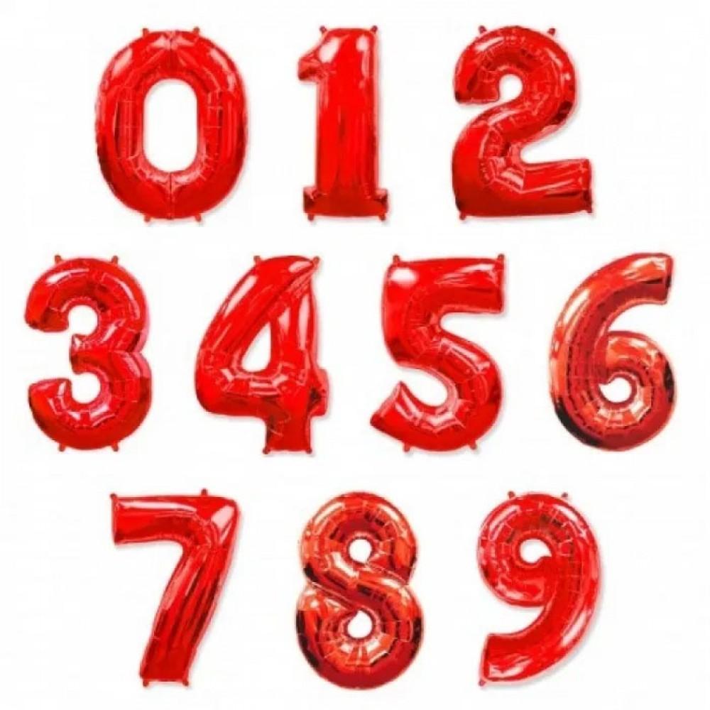 """1207-0009 Фольгована кулька з гелієм  Цифри Червоні (від 0 до 9 на вибір) 40"""", розмір 102 см"""