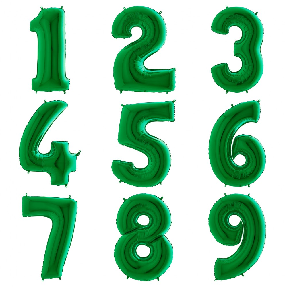 """1207-0010 Фольгована кулька з гелієм  Цифри Зелені (від 0 до 9 на вибір) 40"""", розмір 102 см"""
