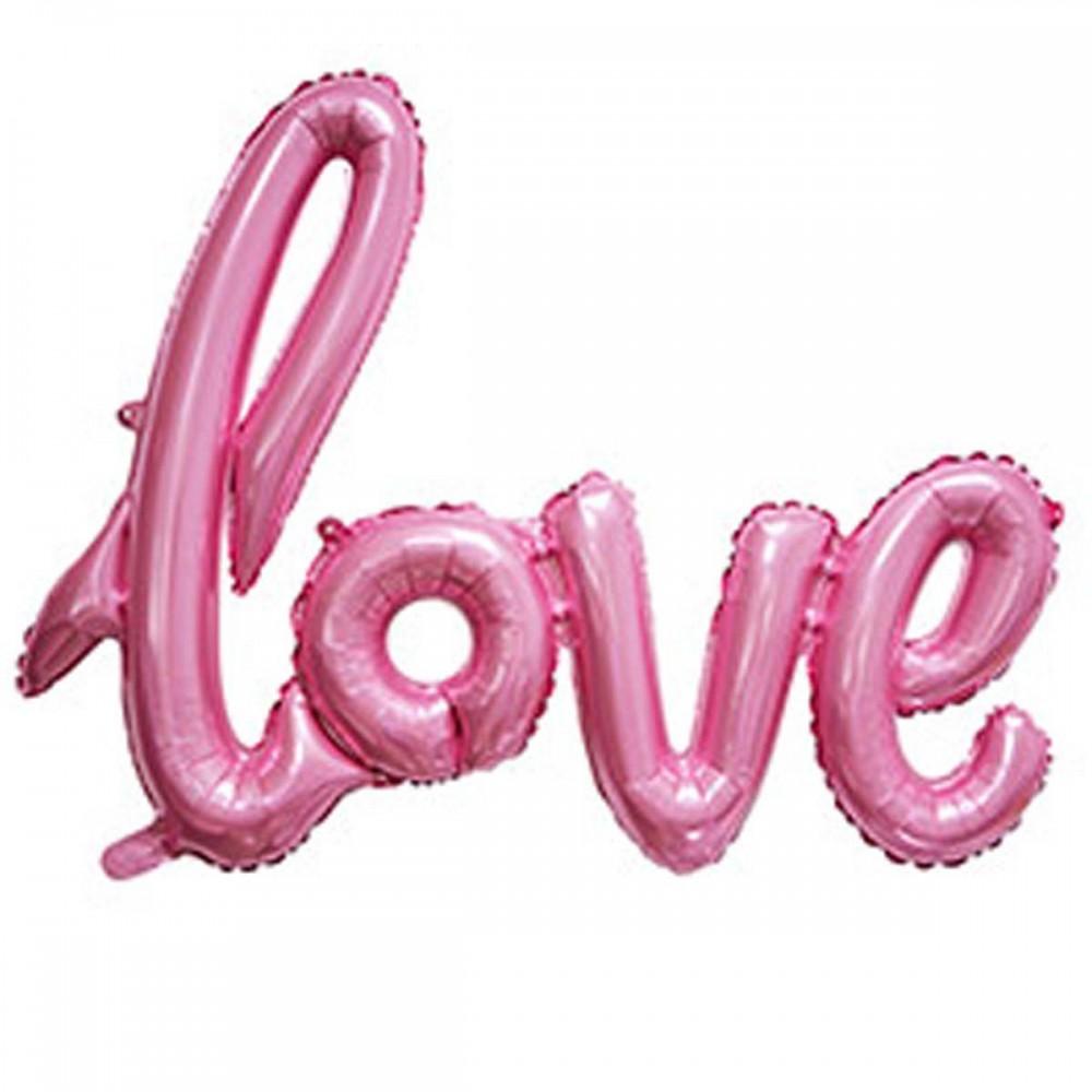 1207-3312 Шар фольгированный  Слово Love розовое, размер 70х50 см
