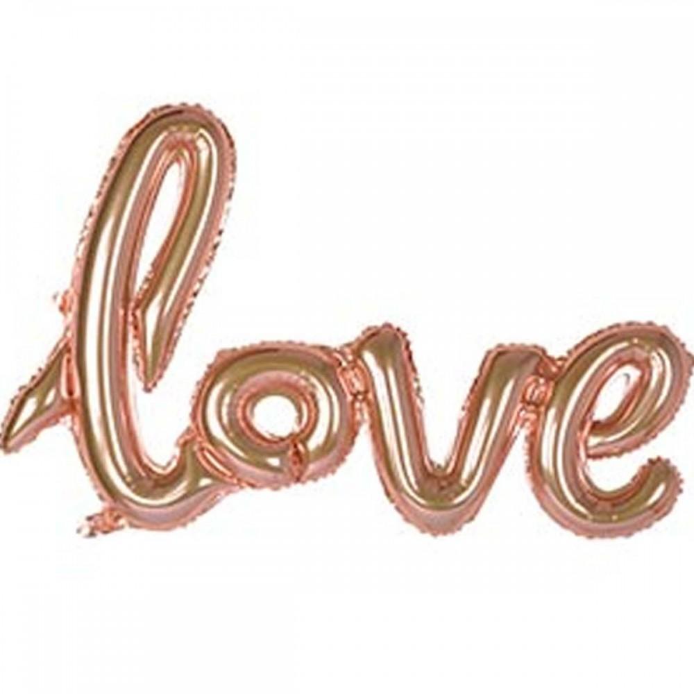 1207-3313 Шар фольгированный  Слово Love розовое золото, размер 70х50 см