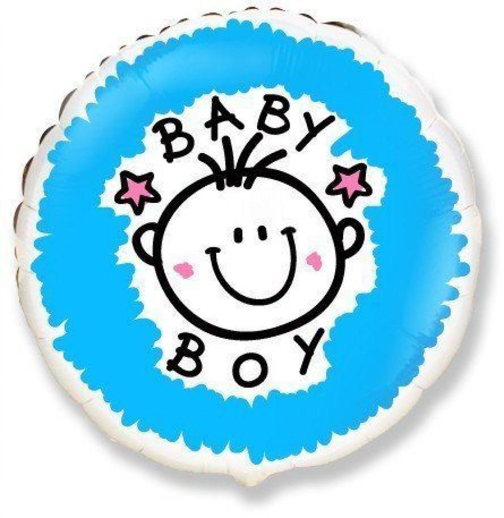"""1202-3040 Шар фольгированный с гелием  Круг """"baby boy"""" 18"""""""""""