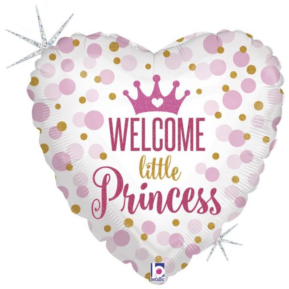 """3202-0318 Шар фольгированный с гелием  Сердце  Welcome little princess 18"""""""""""
