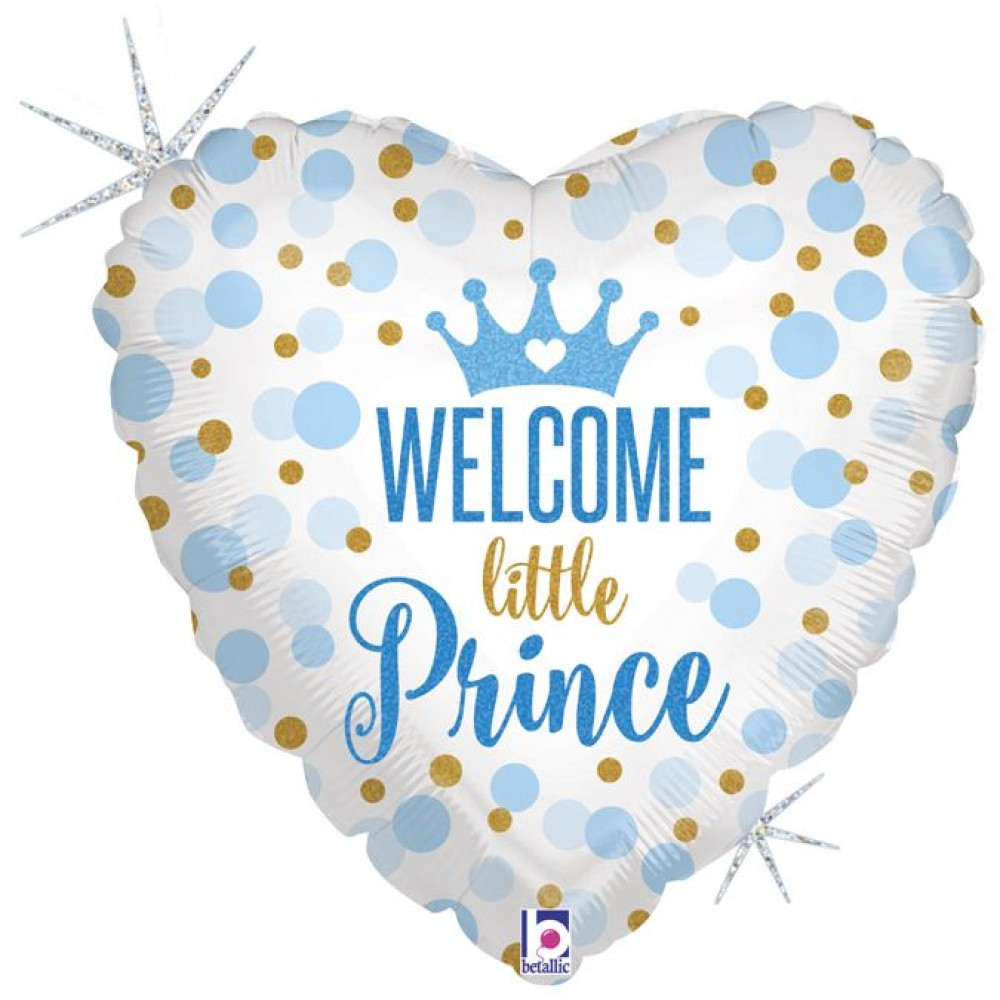 """3202-0319 Шар фольгированный с гелием  Сердце Welcome little prince 18"""""""""""