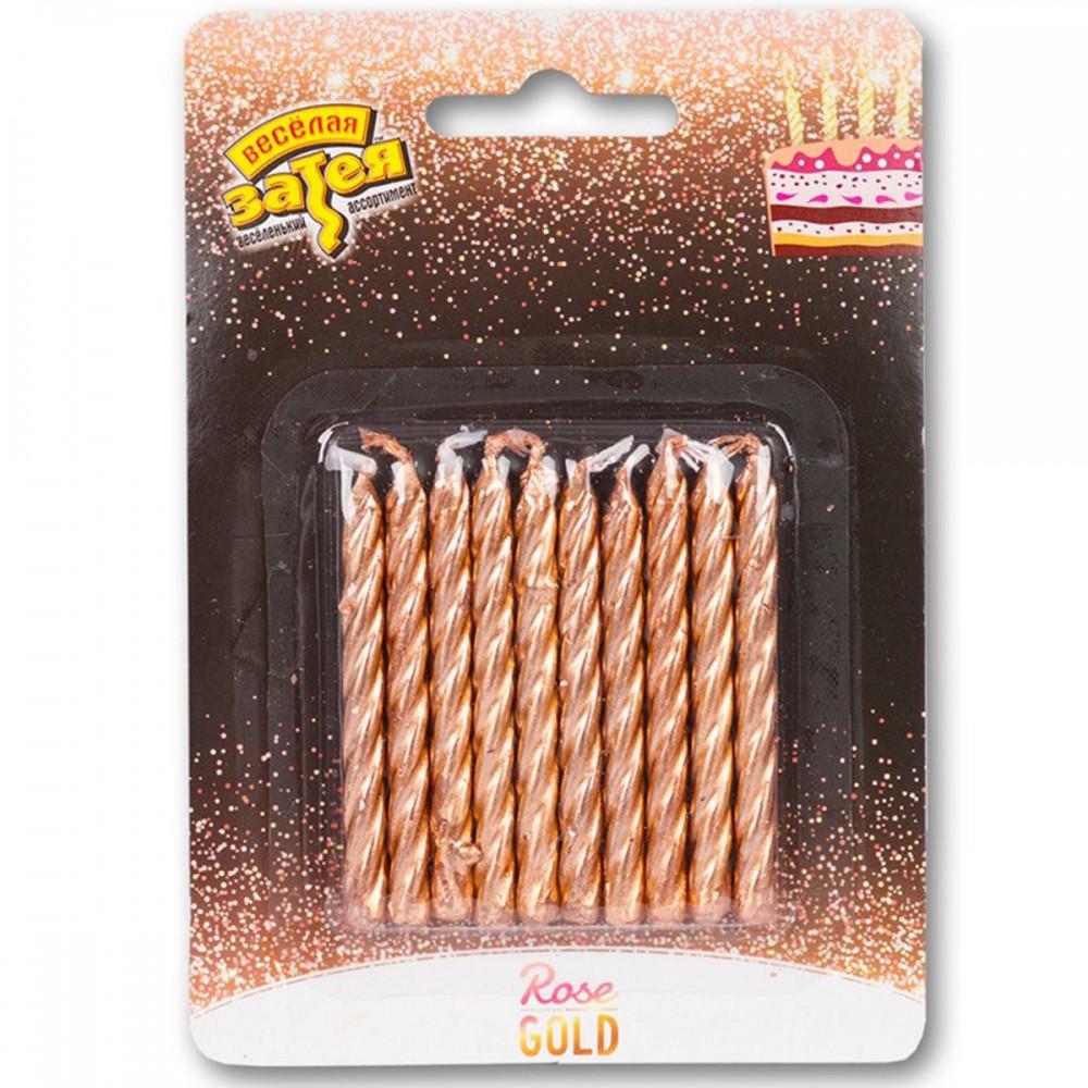 1502-3010 Упаковка свечей в торт не ароматизированые  Металлик розовое золото (10шт/уп.), размер 5 см