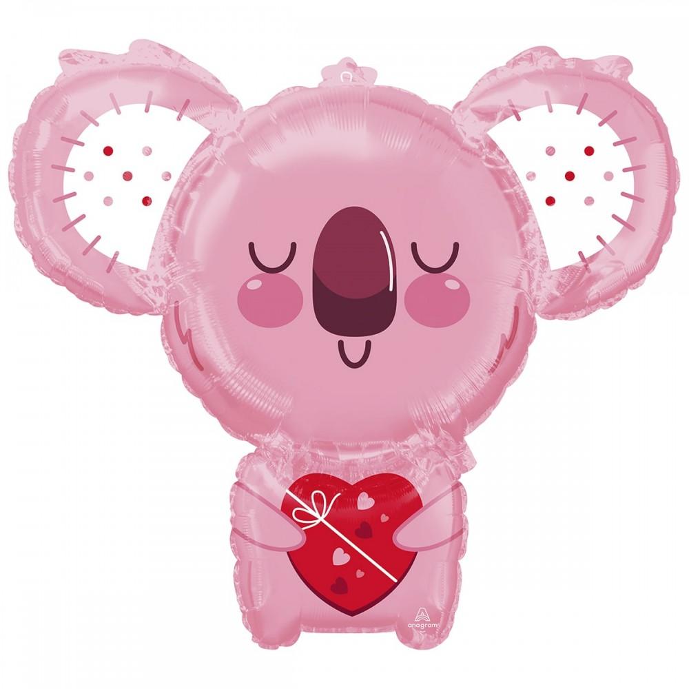 3207-2955 Шар фольгированный с гелием  Коала розовая с сердцем, размер 71х63 см