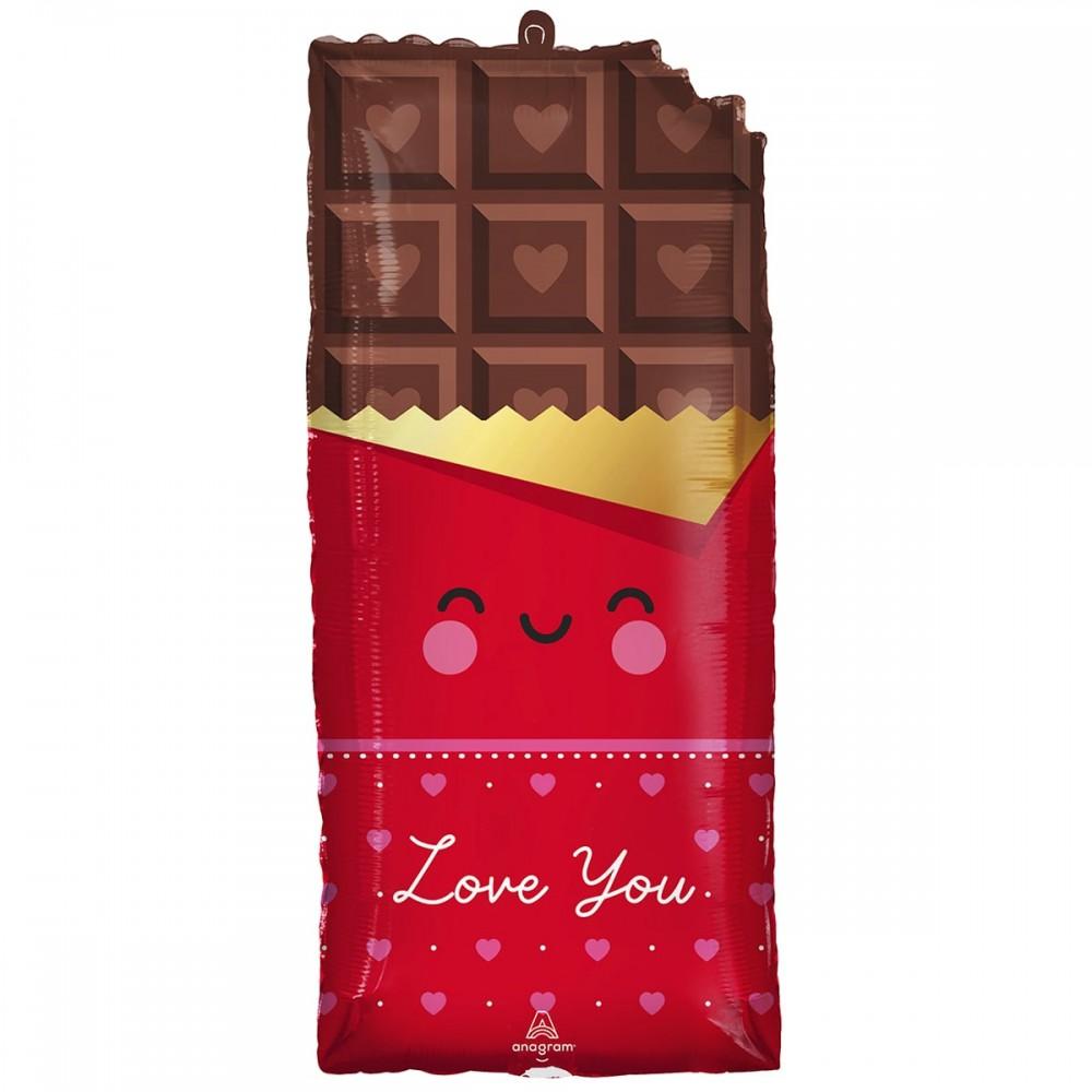 3207-3024 Шар фольгированный с гелием  Шоколадка Love you, размер 71х33 см