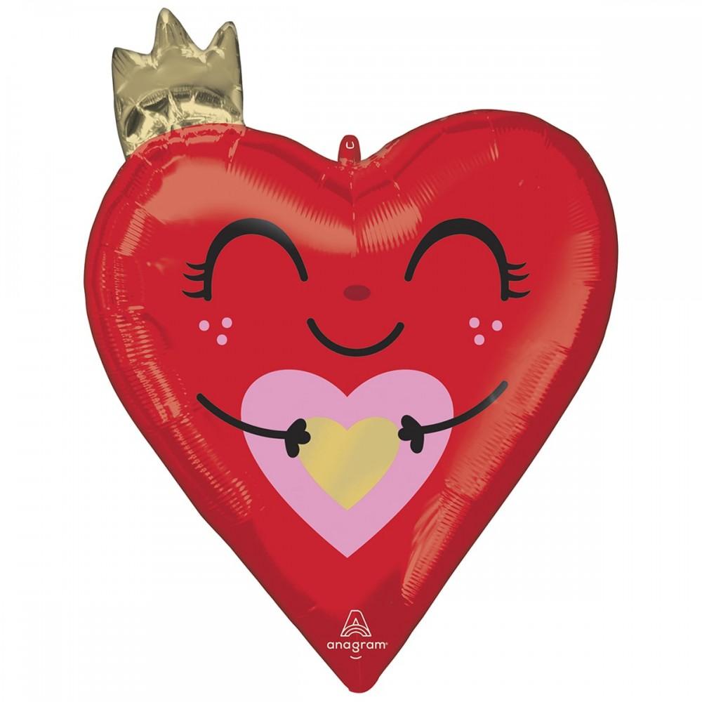 3207-3023 Шар фольгированный с гелием  Сердце с короной, размер 48х66 см