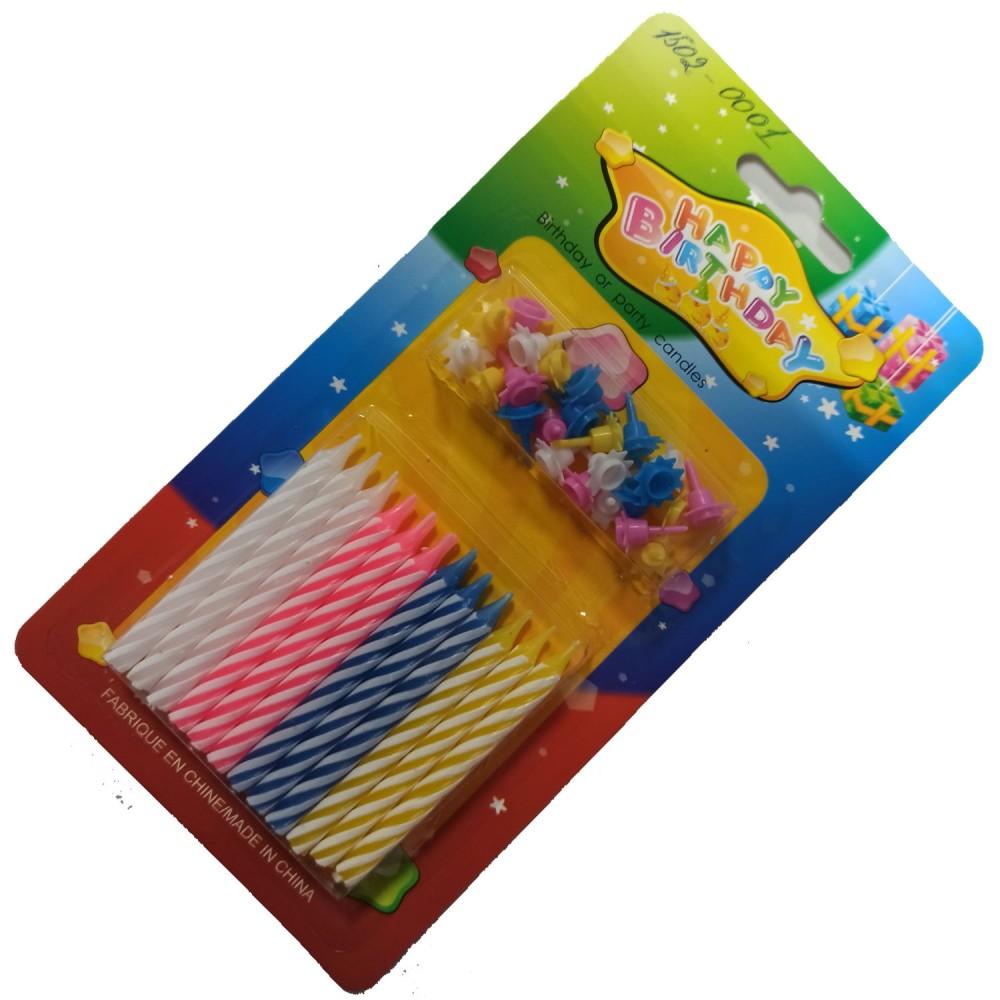 1502-0001 Упаковка свечей в торт не ароматизированые  Белые, розовые, синие, желтый (24шт/уп.), размер 6 см