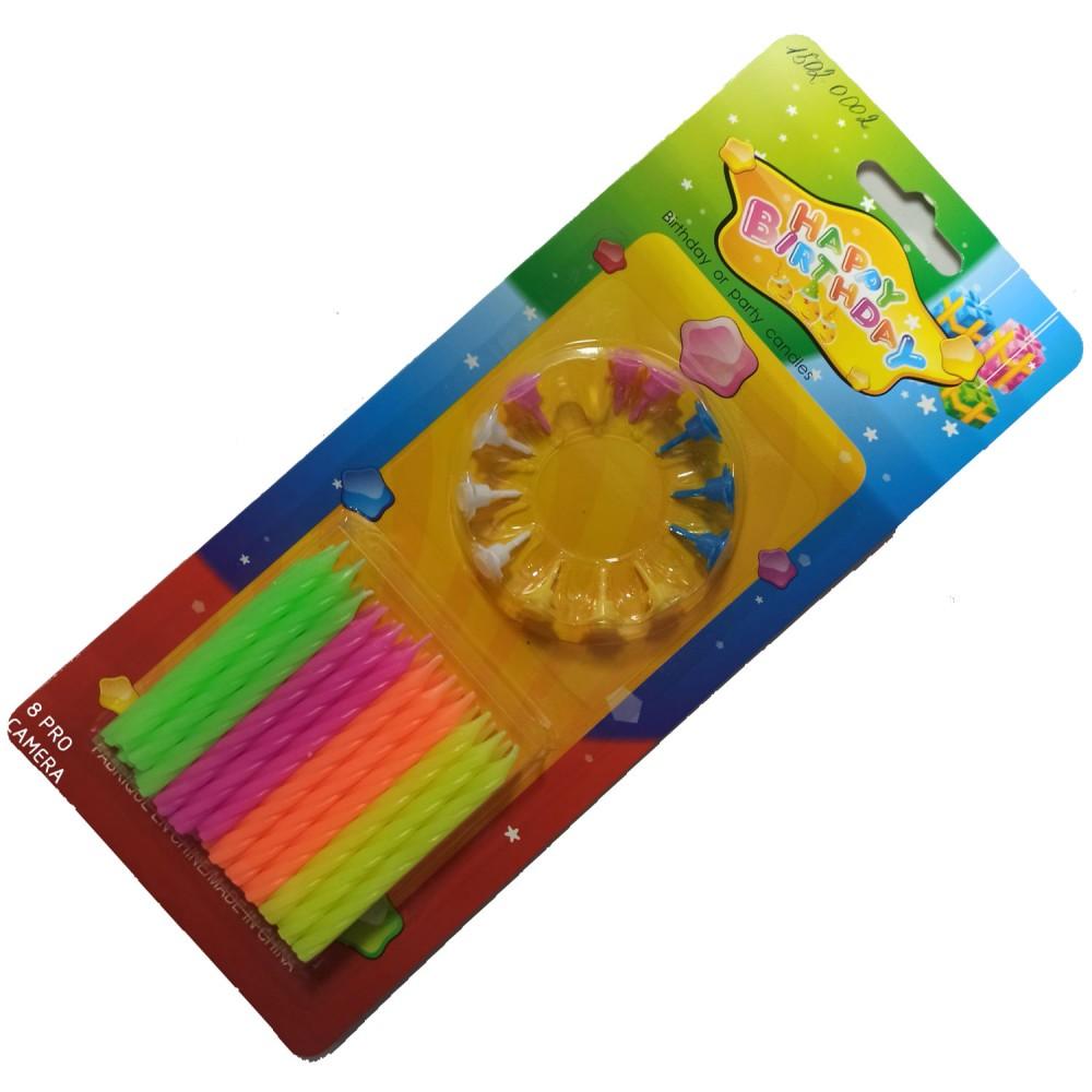 1502-0002 Упаковка свечей в торт не ароматизированые  Салатовые, фиолетовые, оранжевые, желтые (24шт/уп.), размер 6 см