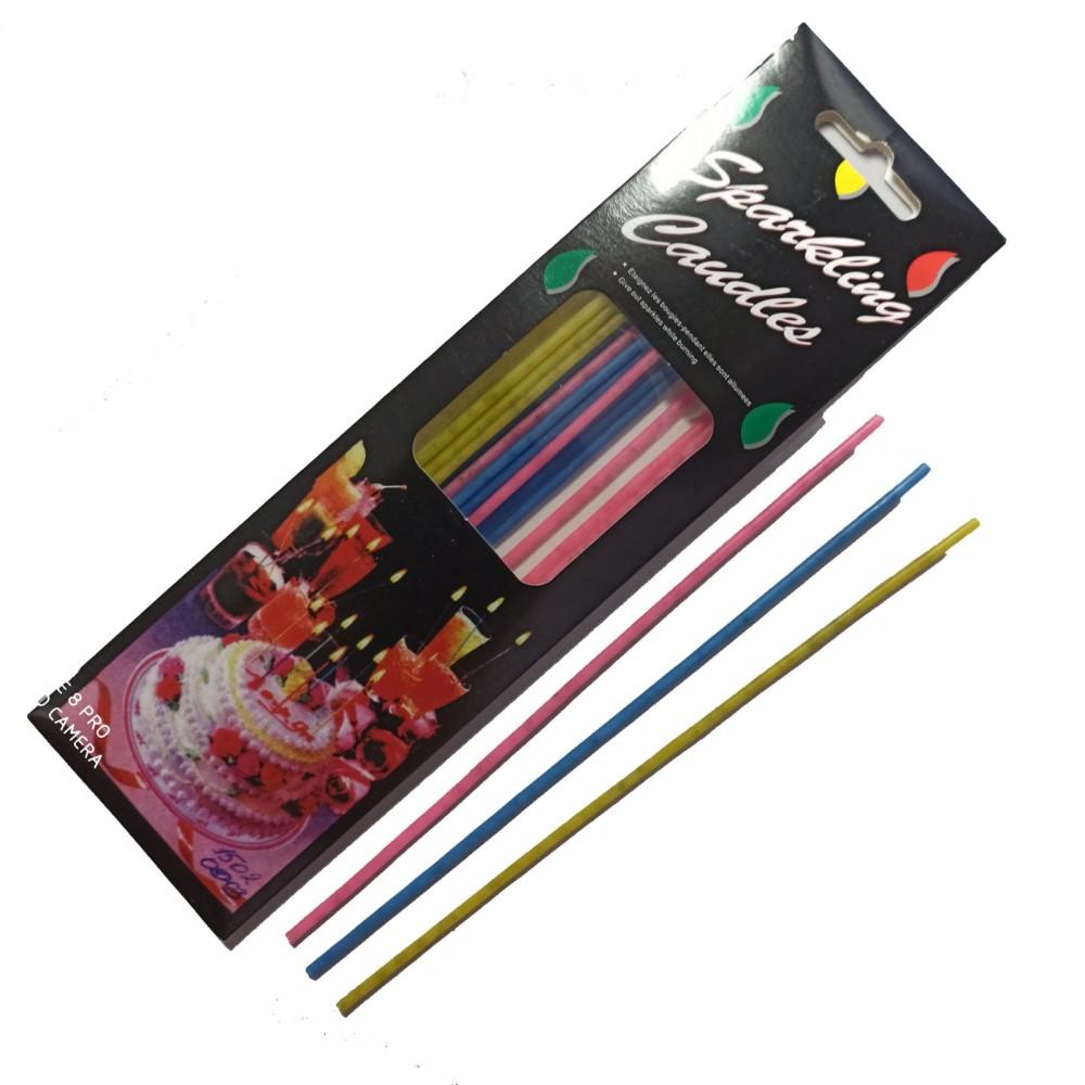 1502-0003 Упаковка свечей в торт не ароматизированые  Длинные  Sparling Candle (15шт/уп.), размер 20 см