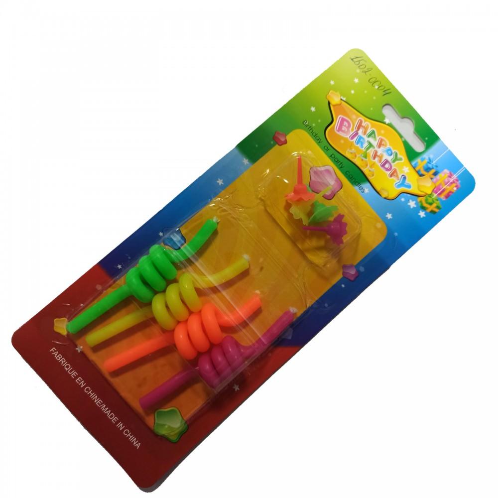 1502-0004 Упаковка свечей в торт не ароматизированые  Спиральки (4шт/уп.), размер 9 см