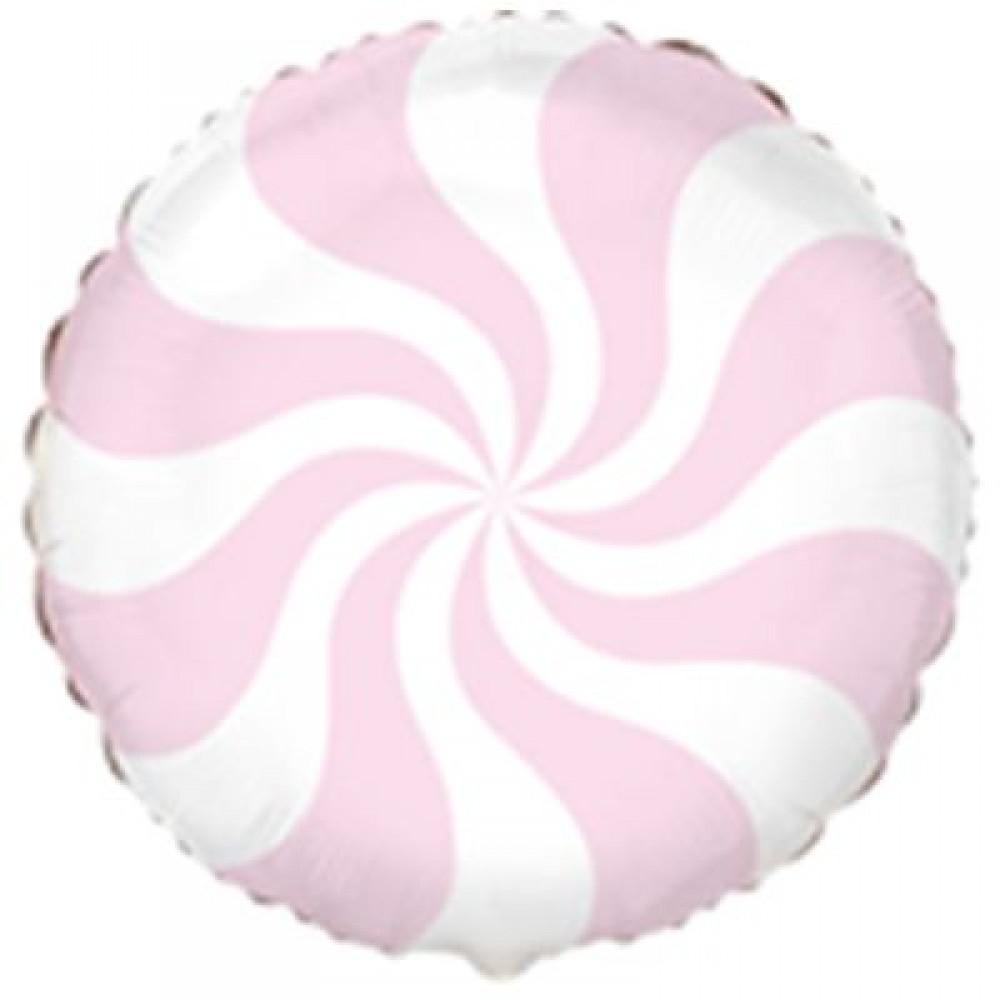 3202-0691 Шар фольгированный с гелием  Круг Конфетка пастель розовая 18, размер 46х46 см