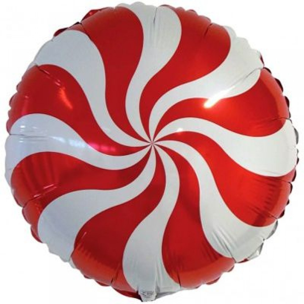 1202-2682 Шар фольгированный с гелием  Круг Конфета красная 18, размер 46х46 см
