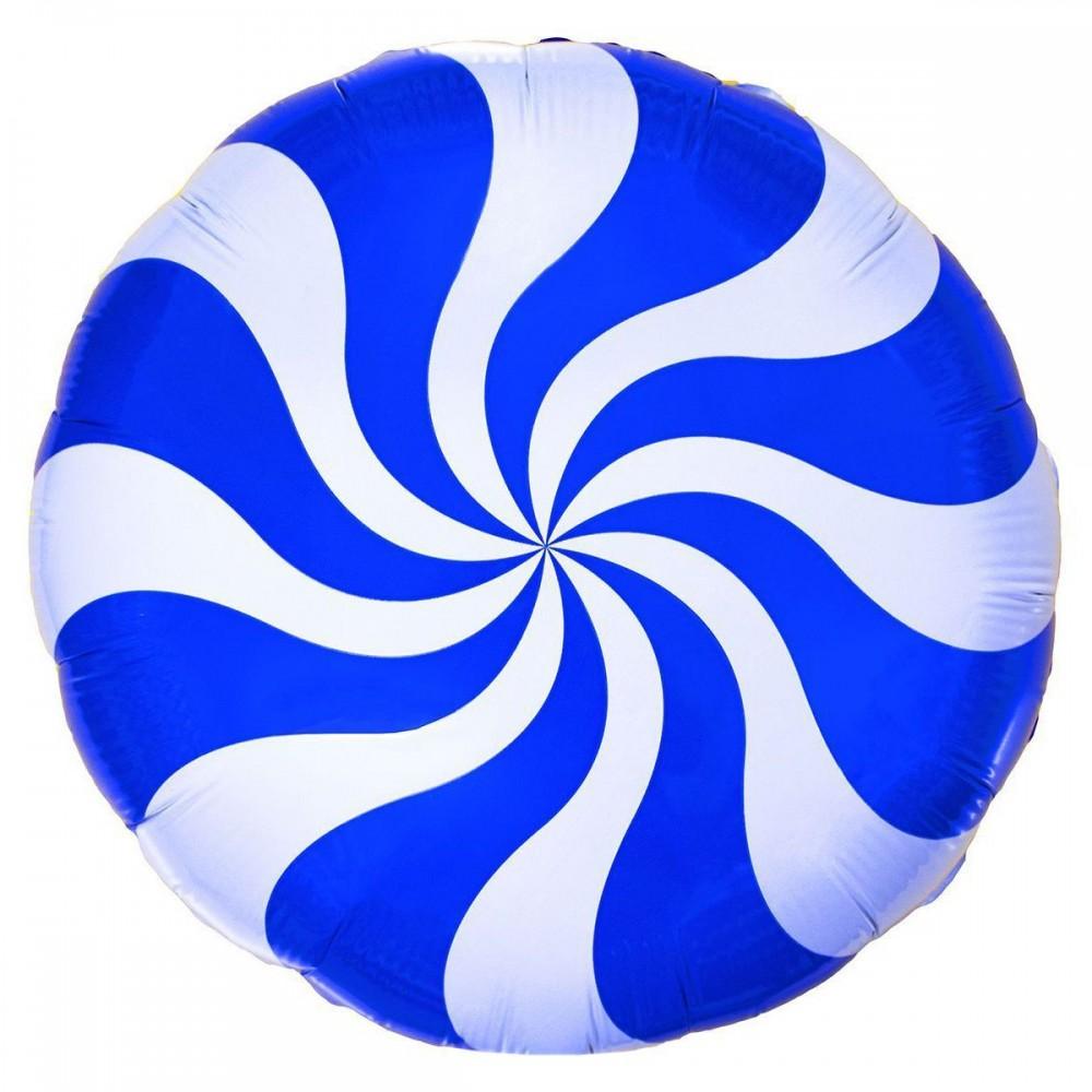 1202-2105 Шар фольгированный с гелием  Круг Конфета синяя 18, размер 46х46 см