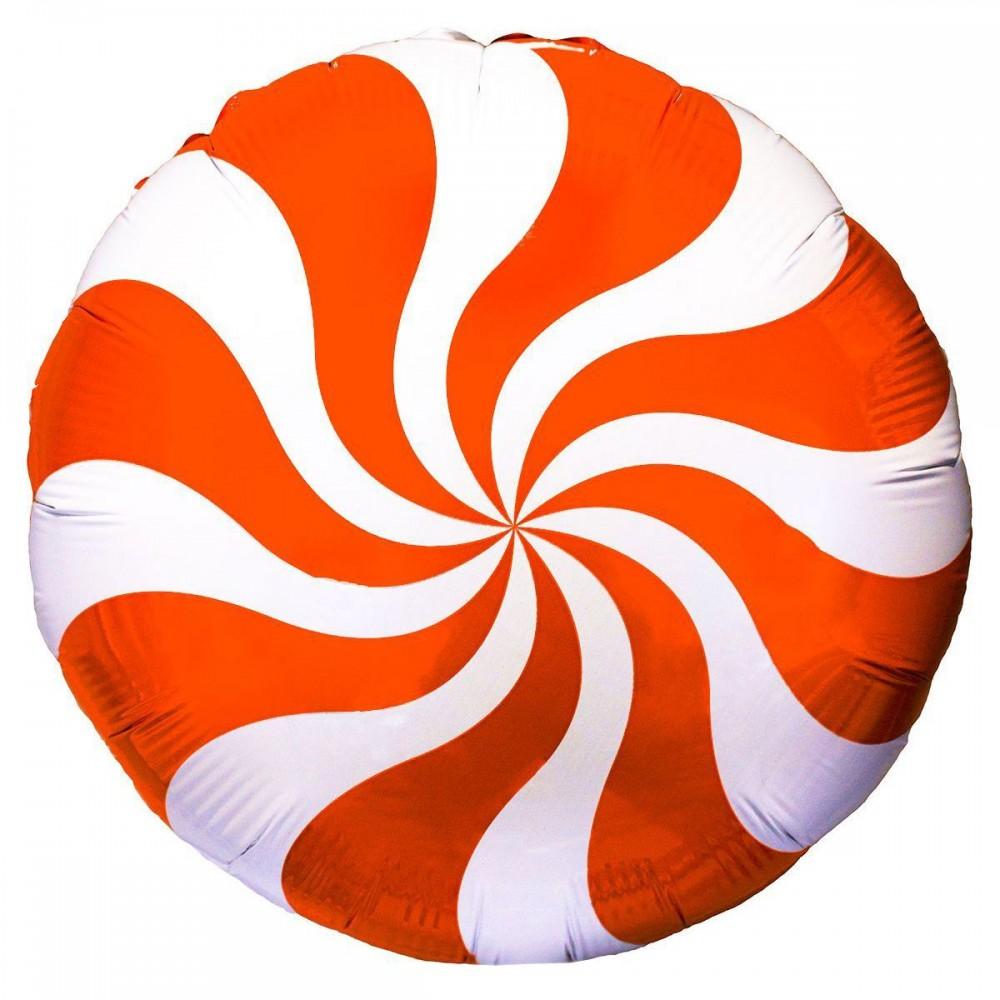 1202-2104 Шар фольгированный с гелием  Круг Конфета оранжевая 18, размер 46х46 см