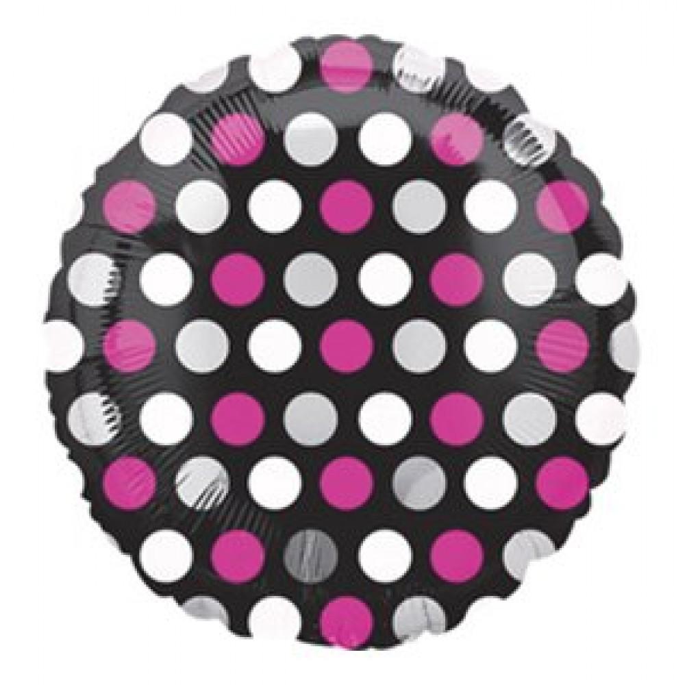 3202-0228 Кулька фольгована з гелієм  Круг Горошок на чорному 18, розмір 46х46 см