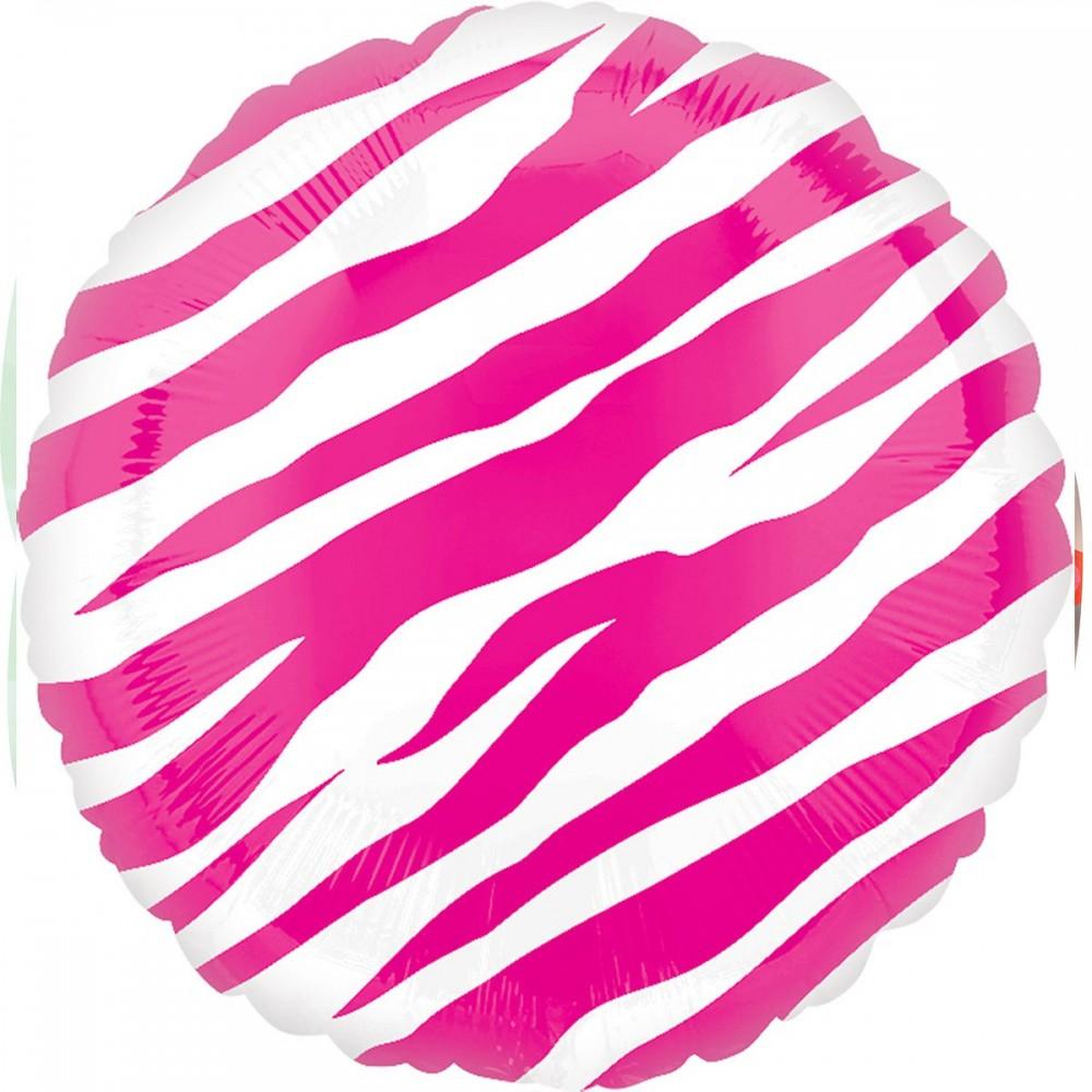3202-0229 Шар фольгированный с гелием  Круг Зебра розовая 18, размер 46х46 см