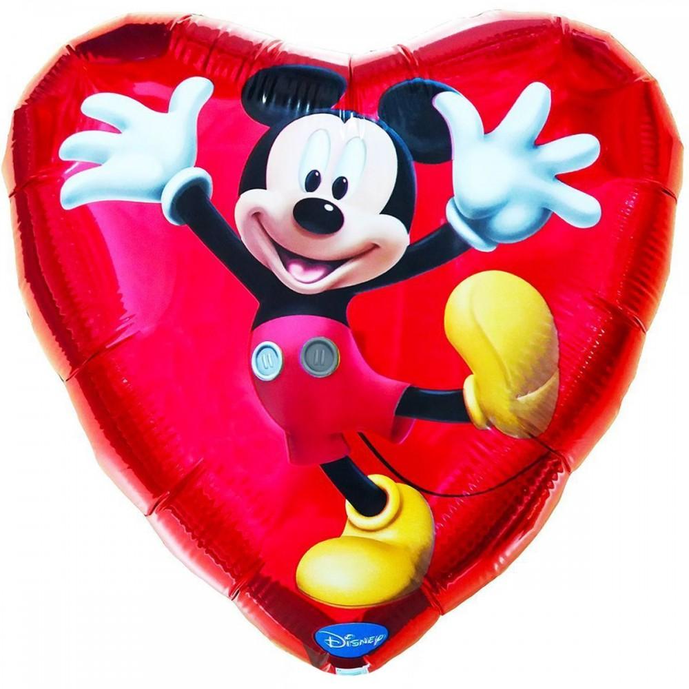 1202-1386 Шар фольгированный с гелием  Сердце Микки 18, размер 46х46 см