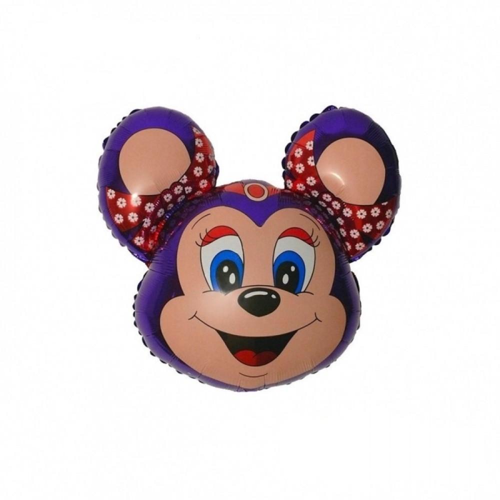 1207-0392 Шар фольгированный с гелием  Голова Бабси Маус фиолетовая, размер 90х67 см