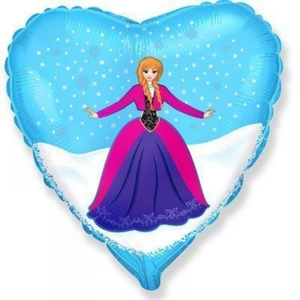 1202-3371 Шар фольгированный с гелием  Сердце Анна Холодное сердце 18, размер 46х46 см