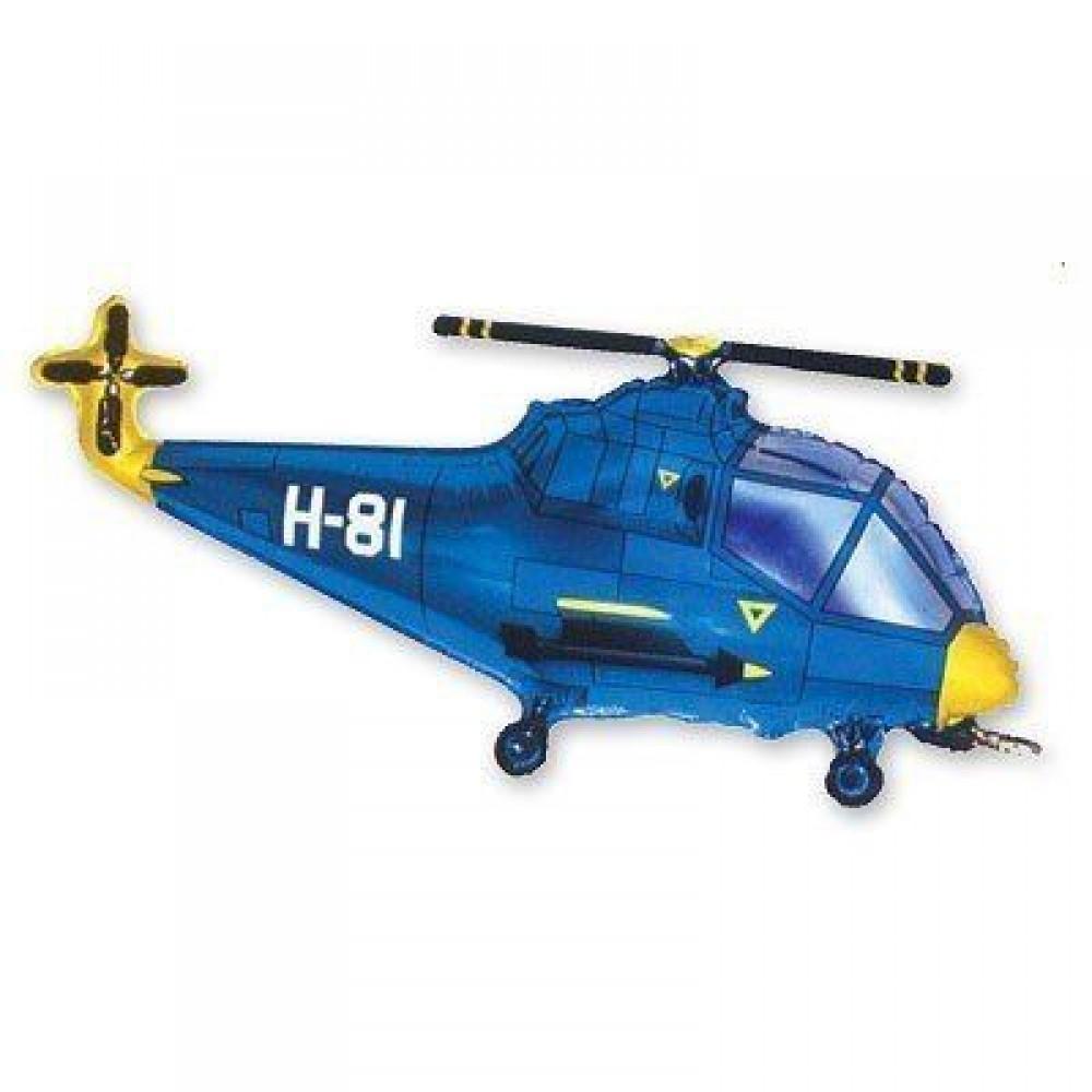 1207-0941 Кулька фольгована з гелієм  Вертоліт синій, розмір 57х96 см