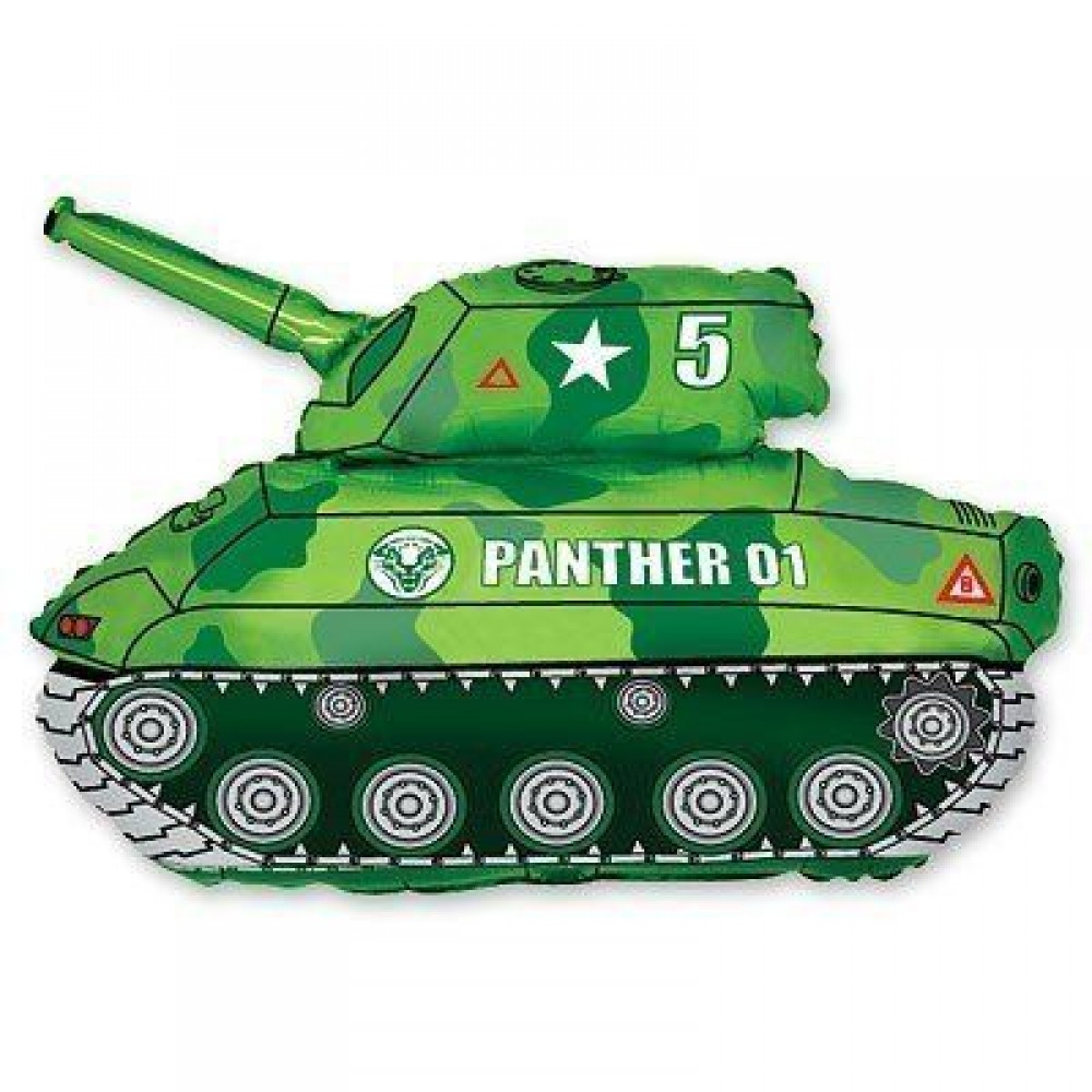 1207-1060 Шар фольгированный с гелием  Танк зеленый, размер 80х65 см