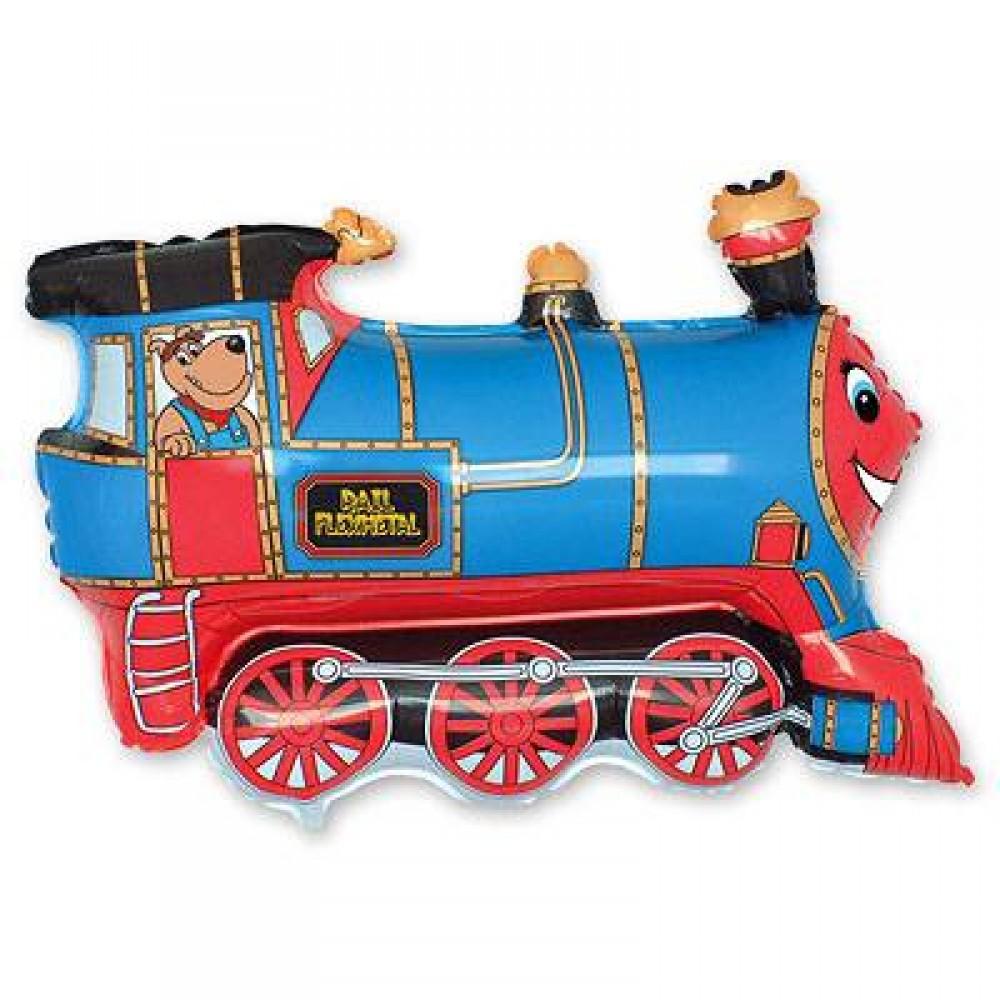 1207-1283 Шар фольгированный с гелием  Поезд синий, размер 70х80 см