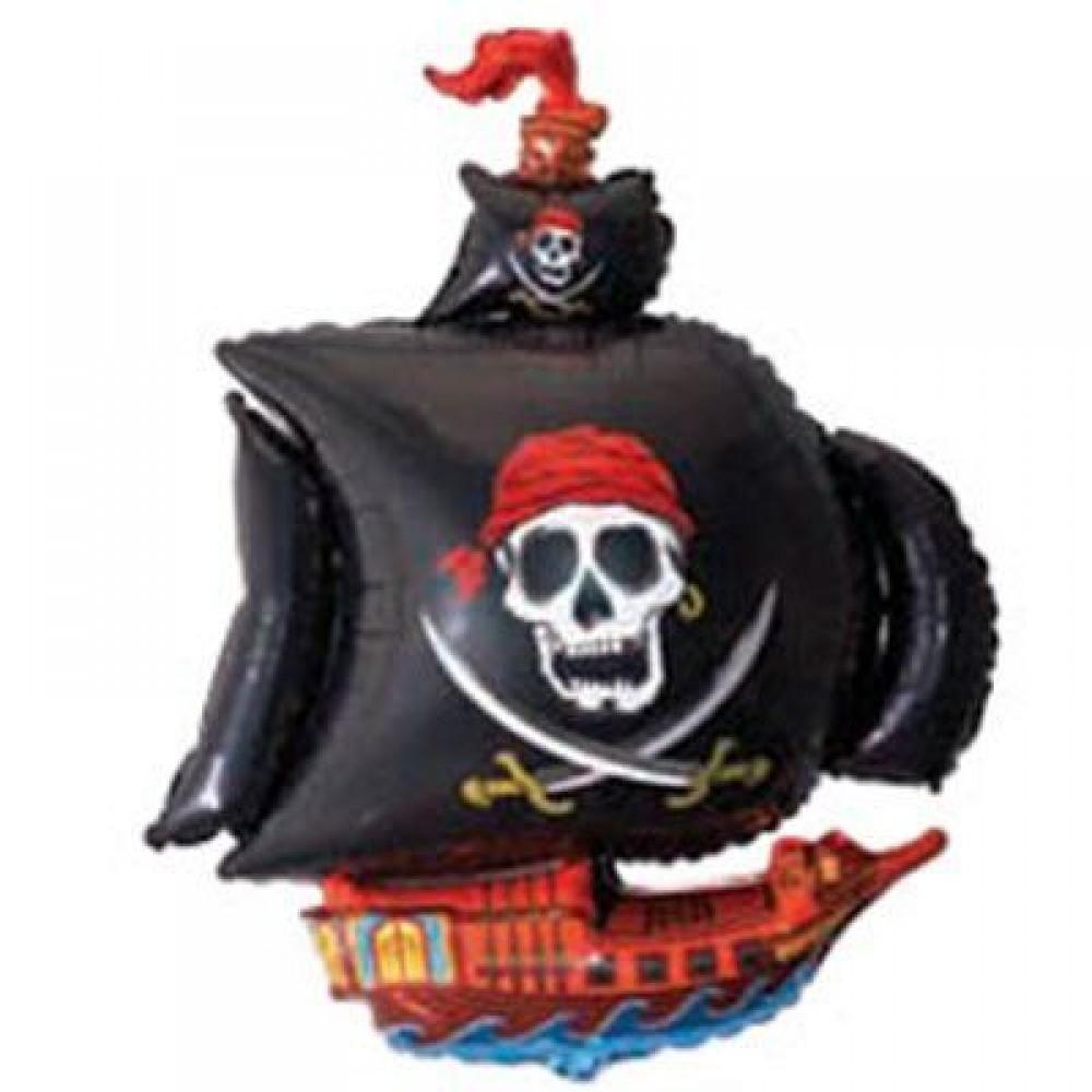 1207-1043 Кулька фольгована з гелієм  Піратський корабель чорний, розмір 78х105 см