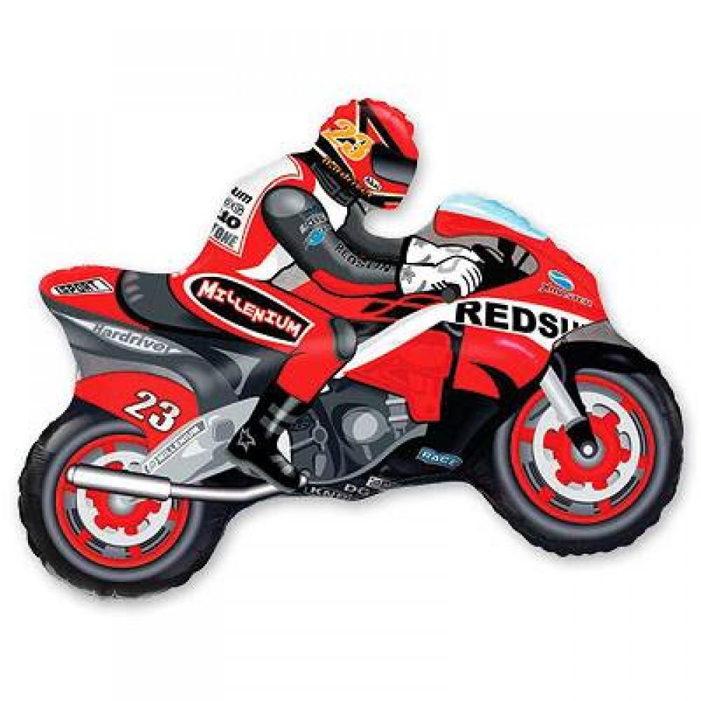 1207-0830 Кулька фольгована з гелієм  Мотоцикліст червоний, розмір 70х84 см