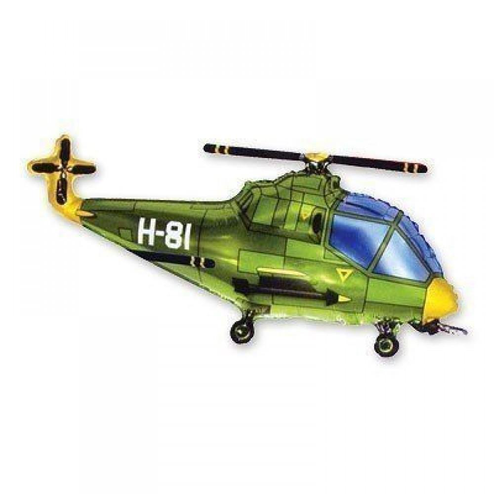 1207-0943 Кулька фольгована з гелієм  Вертоліт зелений, розмір 57х96 см