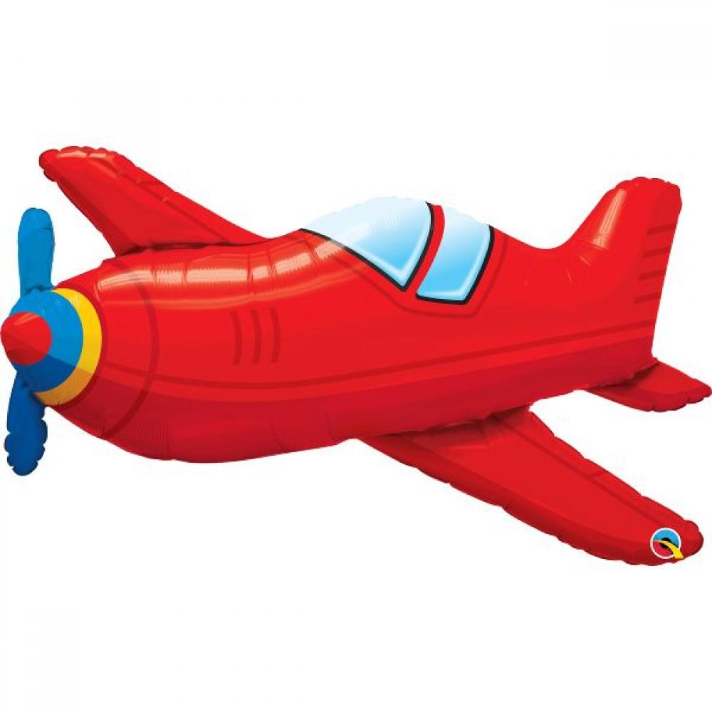 3207-1289 Кулька фольгована з гелієм  Літак червоний, розмір 91х48 см