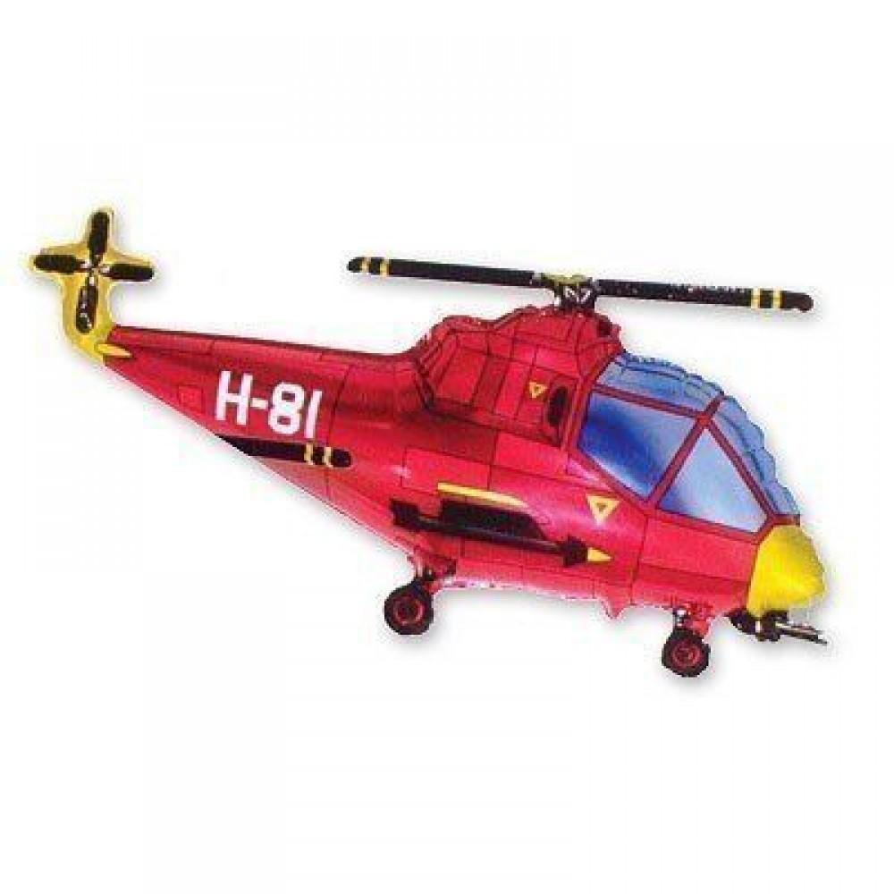 1207-0942 Кулька фольгована з гелієм  Вертоліт червоний, розмір 57х96 см
