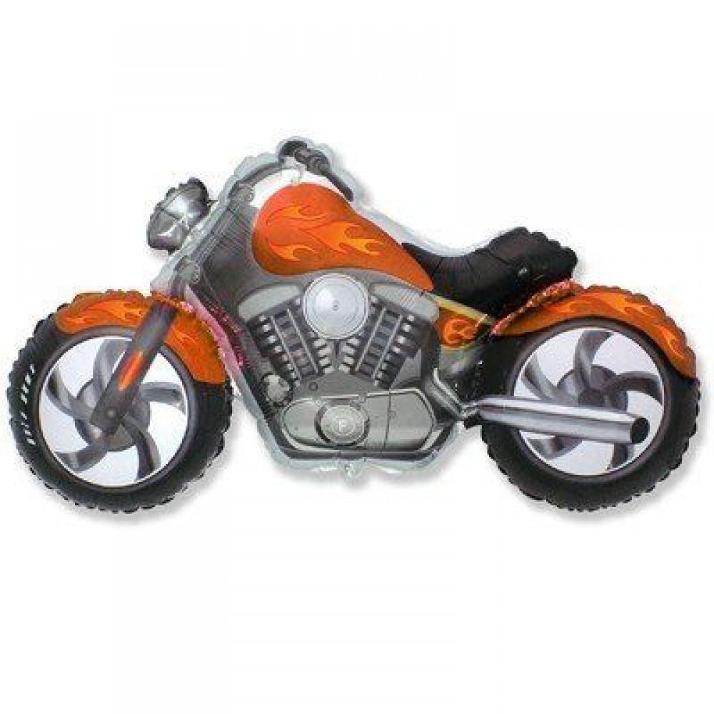 1207-1637 Шар фольгированный с гелием  Мотоцикл оранжевий, размер 57х115 см
