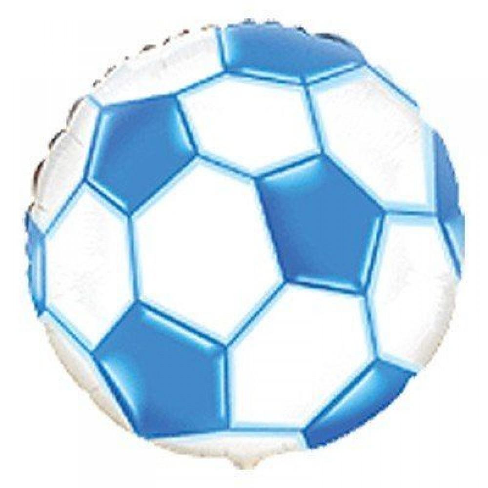 1202-3255 Шар фольгированный с гелием  Мяч футбольный голубой 18, размер 45х45 см