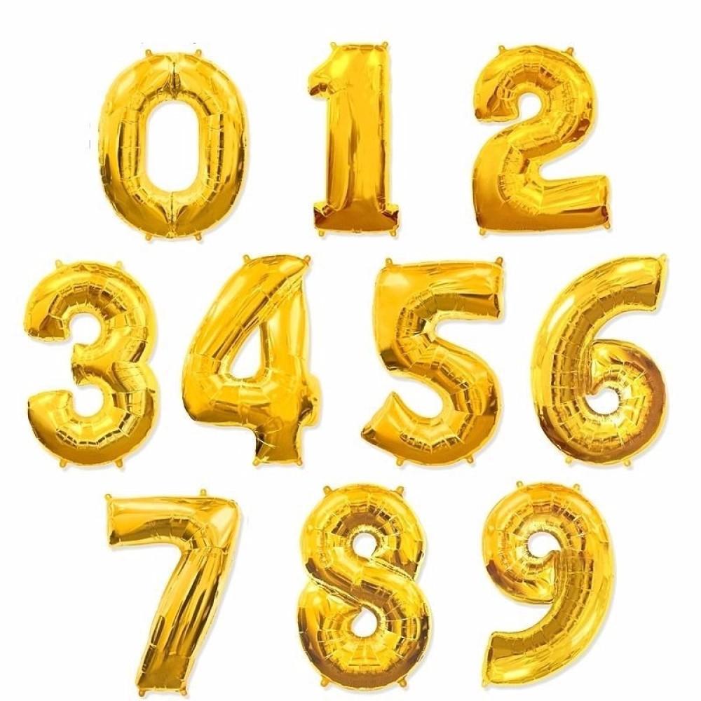"""1207-0001 Фольгированный шар с гелием  Цифра Золото (от 0 до 9 на выбор) 40"""", размер 102 см"""