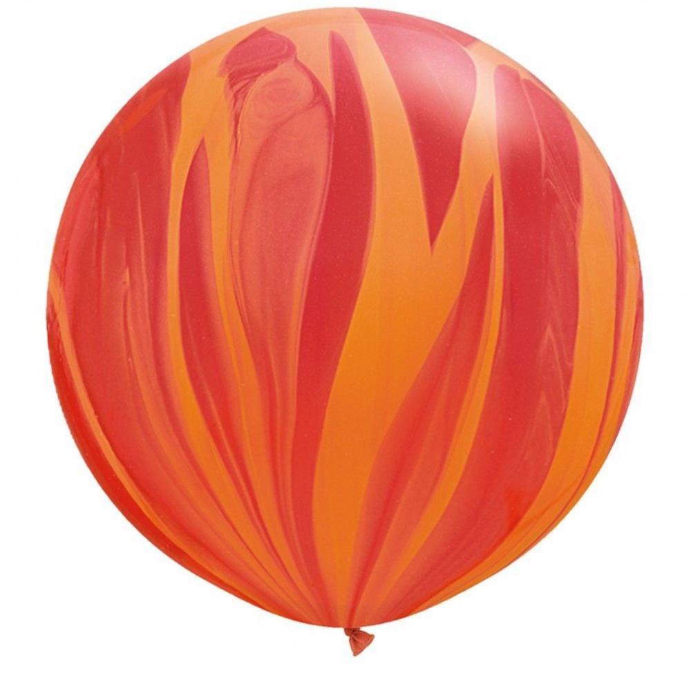 "Латексный шар с гелием  Агат Красно - Оранжевый 30"""", артикул 1108-0352"