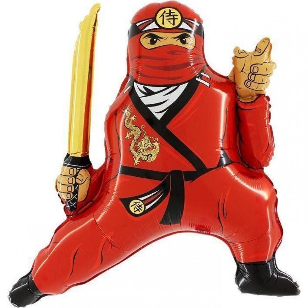 1207-3183 Шар фольгированный с гелием  Ниндзя красный, размер 75х83 см