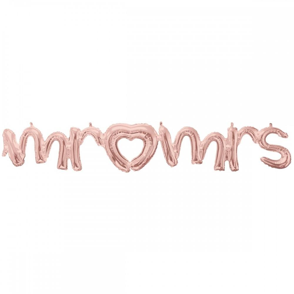 3207-2752 Шар фольгированный  Надпись Mr&Mrs рожеве золото, размер 149х25 см