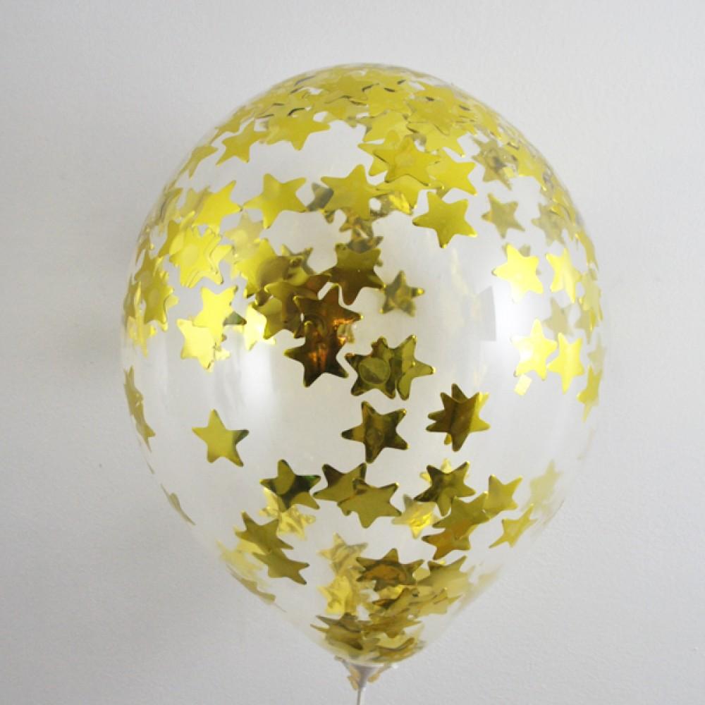 "Латексный шар с гелием  Прозрачный с метафаном (звезды) 14"", артикул 1113-0002"