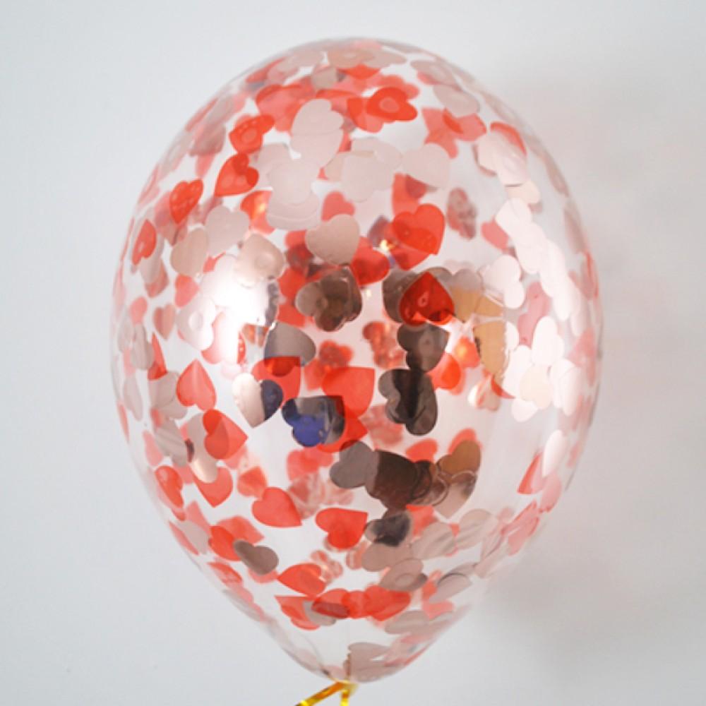 "Латексный шар с гелием  Прозрачный с метафаном (сердечки) 14"", артикул 1113-0005"