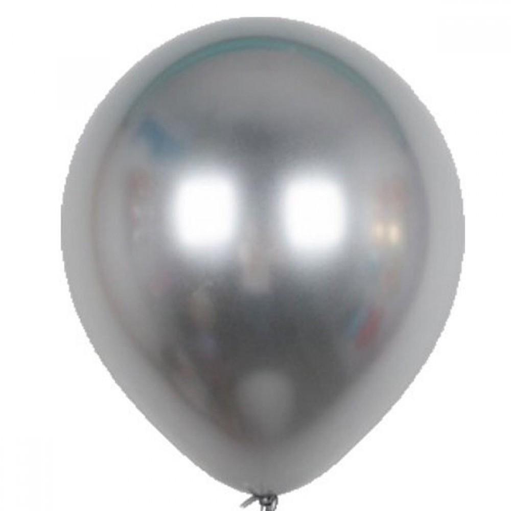 """Кулька латексна з гелієм  Хром Срібло 12"""", артикул 3102-0084"""