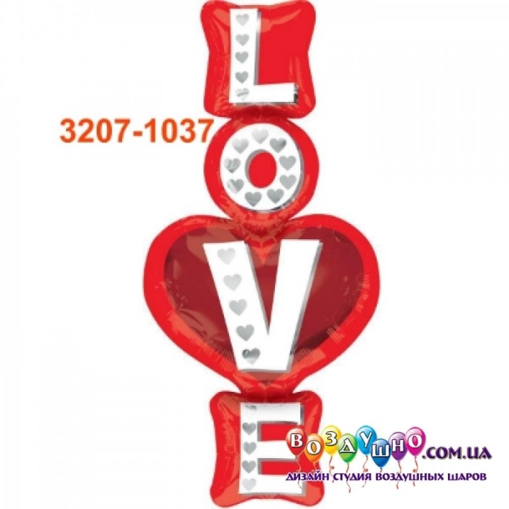 """3207-1037 Шар фольгированный с гелием  Слово """"Love"""", размер 100х46 см"""