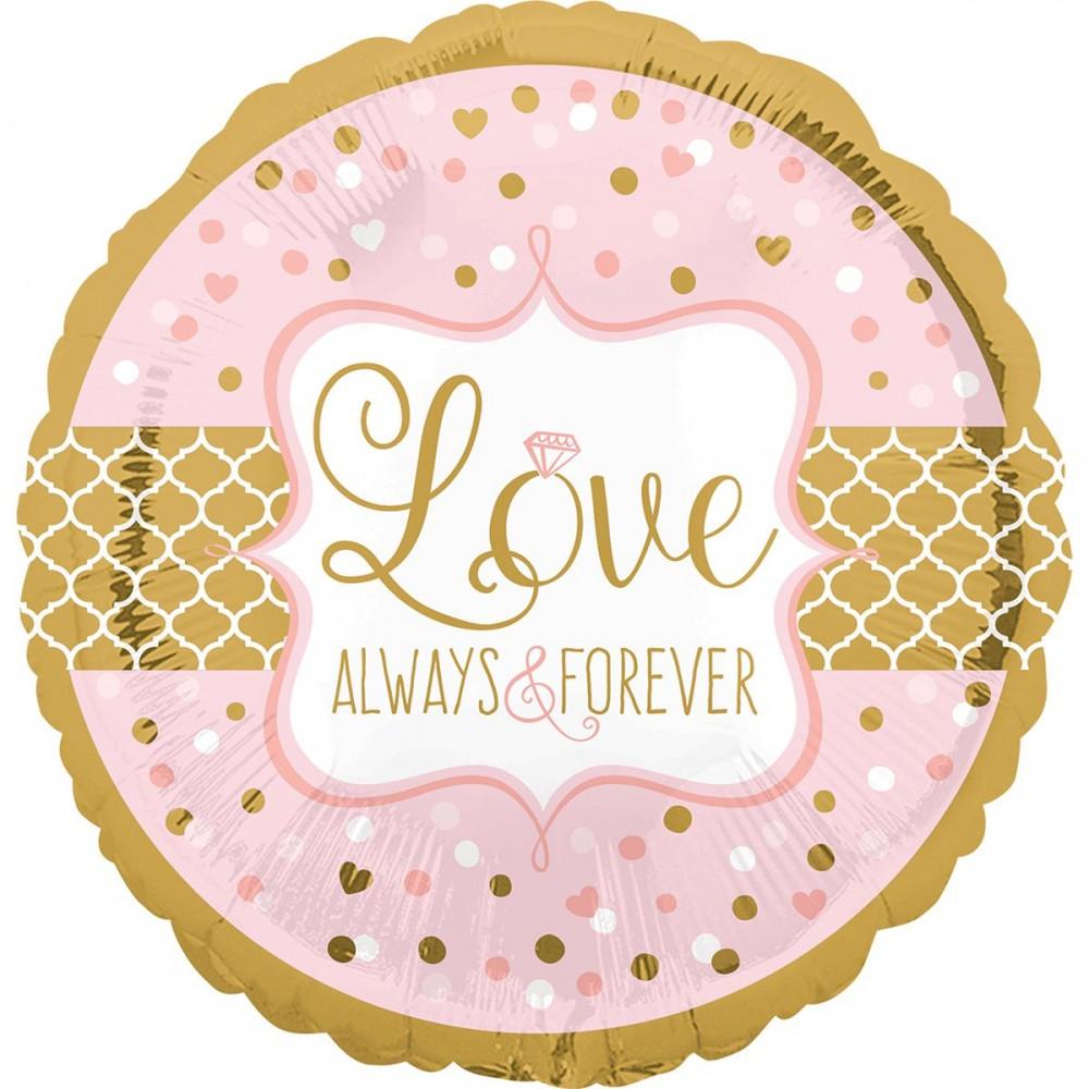 """3202-0323 Шар фольгированный с гелием  Круг """"Love forever"""" 18"""", размер 46х46 см"""